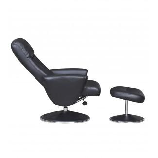 Silla reclinable giratoria de imitación Amalfi de GFA - Negro