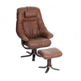 Silla reclinable giratoria de cuero Elano | Silla giratoria reclinable ...