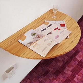 Mesa de madera semicircular Mesa de hoja abatible montada en la pared Mesa de comedor plegable Escritorio de la computadora