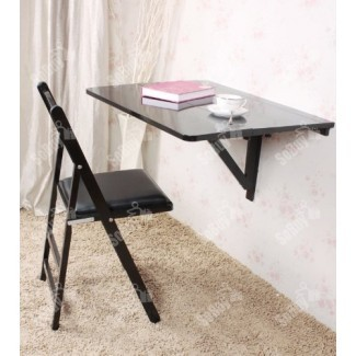 Hoja plegable plegable de pared, mesa de comedor de cocina, escritorio de madera para niños, US3-FWT02-SCH-FBA, negro
