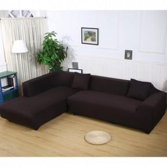 Fundas de sofá en forma de L, 2 piezas de tejido de poliéster elástico ...
