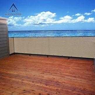Alion Home Elegante pantalla de privacidad para terraza de patio trasero, patio, balcón, cerca, piscina, porche, barandilla. Banha Beige