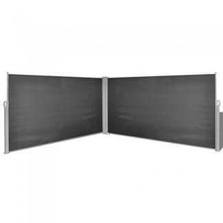 """Toldo lateral retráctil Festnight con marco de acero, 63 """"x 236"""", negro"""