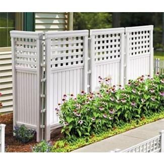 Pantalla de privacidad para exteriores Panel de valla de jardín Patio blanco ...