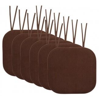 Cojín de silla de comedor antideslizante Honeycomb de espuma de memoria interior / exterior Cojín de silla de comedor (juego de 6)