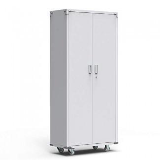 """Bonnlo - Armario de almacenamiento de metal, alto, de 74 """", con ruedas, con estantes ajustables y puerta para garaje, oficina, cocina, cuarto de lavado"""
