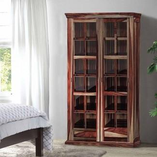 Armario de almacenamiento grande con puerta de vidrio rústico de madera maciza