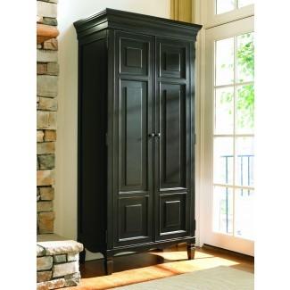 Gabinete de almacenamiento independiente alto de madera negra con puertas en
