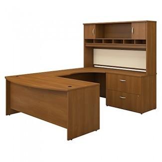 Muebles de negocios Bush Serie SRC005AURSU C 72W Arco delantero derecho Escritorio en forma de U con estante y almacenamiento