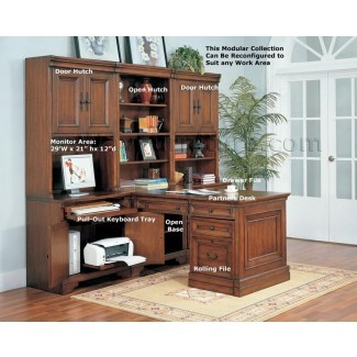 Aspenhome Warm Cherry Executive Modular Home Office ...