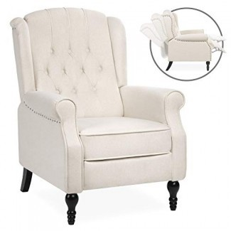 Best Choice Products Butaca reclinable con respaldo acolchado con respaldo acolchado con asiento acolchado, asiento acolchado, ribete de clavo - Beige