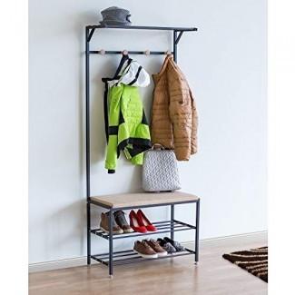 Tatkraft Solution Perchero de entrada Perchero de zapatos | Perchero con marco de metal | Zapatero de 2 niveles | Fuerte, elegante y duradero