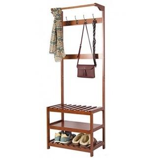 perchero de madera de la colección yaker's Hall de entrada de madera con 4 ganchos para sombreros y 3 niveles de banco de almacenamiento