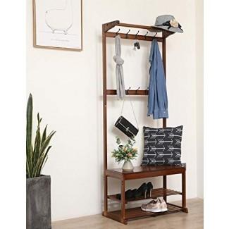 SeiriOne Bamboo Coat Rack Benck Shoe, estante de entrada Hall Tree, 20 ganchos, 1 organizador de almacenamiento, montaje fácil