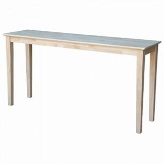 International Concepts Solid Wood Console Table Mesa de sofá sin terminar