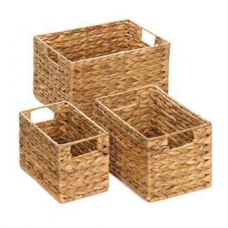 Juego de cestas de mimbre de anidación de 3 piezas