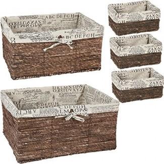 Cesta de mimbre Juvale: paquete de 5 canastas de almacenamiento para estantes con forro tejido