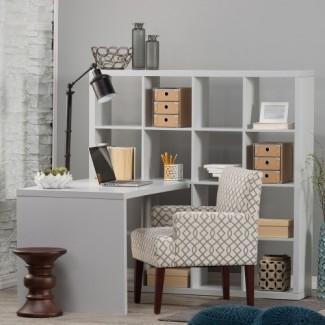 Hudson 16-Cube Shelf with Desk - Gray - Escritorios en