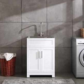 """Gabinete de servicio de lavandería blanco de 24 """"con combinación de fregadero y grifo de acero inoxidable"""