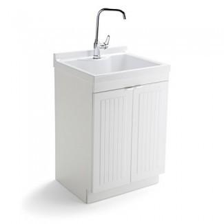 Simpli Home AXCLDYABS-24 Murphy Gabinete de lavandería tradicional de 24 pulgadas con grifo y fregadero de ABS