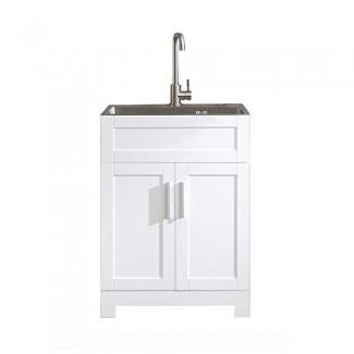 Goodyo Grifo de lavabo de acero inoxidable de 24 pulgadas, lavabo, lavabo, grifo de acero inoxidable de servicio pesado con drenaje