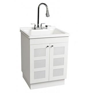 LDR 7712CP-SD Lavadero del gabinete del lavabo del grifo de cromo con dispensador de jabón y rociador extraíble