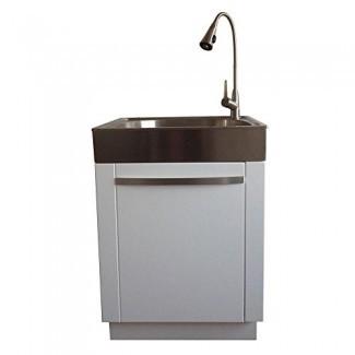 Presenza All-in-One 26 in. X 23 in. Fregadero y gabinete de lavandería / utilidad de acero inoxidable de 31 pulg.