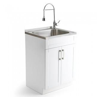 Simpli Home AXCLDYSS-24 Hennessy Contenedor de lavandería contemporáneo de 24 pulgadas con grifo y fregadero de acero inoxidable