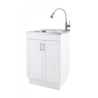 ZUHNE 24 pulgadas blanco premontado suave Cerrar el gabinete de servicio de lavandería con fregadero de acero inoxidable y mezclador de grifo de doble función con resorte flexible