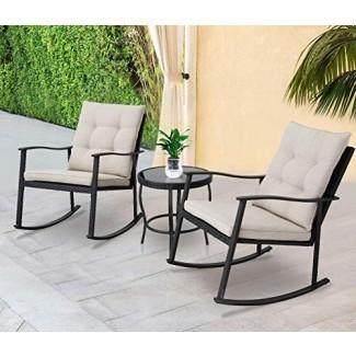 Muebles de exterior Solaura Juego de bisutería de patio de mimbre mecedora de 3 piezas Mimbre negro con cojines beige - Dos sillas con mesa de centro de vidrio