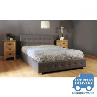 Estructura de cama de almacenaje de tela con elevador de gas, tamaño Queen, gris |