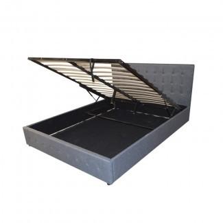 Marco de cama de almacenamiento con elevación de gas Fabric Queen Queen gris oscuro SB031