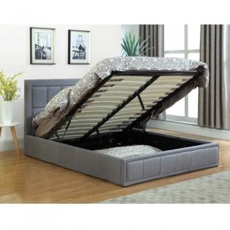 VIC Furniture Cama de almacenamiento con elevador de gas Queen Modern Gray, isla gris