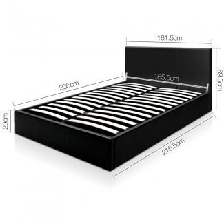 Estructura de cama de almacenamiento de cuero PU con elevador de gas de lujo Queen Black