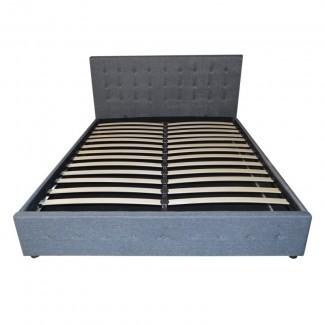 Estructura de cama de almacenamiento con elevador de gas de tela Queen Dark Grey SB031