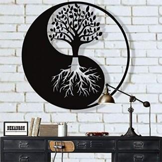 DEKADRON Arte de pared de metal, Arte de pared de árbol de la vida, Decoración de metal Yin Yang, Decoración de pared de metal, Decoración de interiores, Tapices