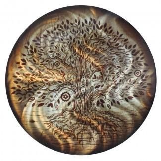 Decoración de pared de metal con forma de árbol de la vida redonda