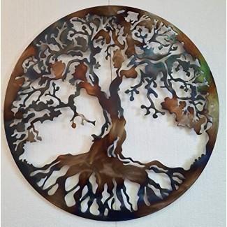 Tree of Life Metal Art, decoración de pared grande, 36 pulgadas, color calor