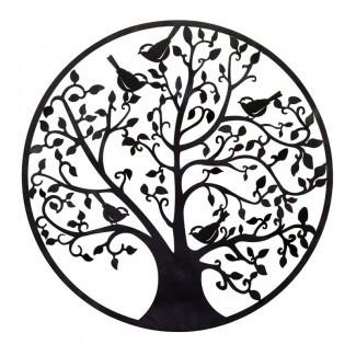 Decoración de pared de ramas y pájaros de metal redondo