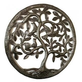 """Arte de la pared del árbol de la vida, inspirado en la naturaleza, hecho a mano en Haití, decoración de metal de acero, interior y exterior Certificado de la Federación de Comercio Justo de 17 """"x17"""""""
