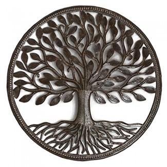 Tambor de acero haitiano Árbol de la vida orgánico 23 x 23 pulgadas Arte metálico reciclado de Haití, Colgante decorativo de pared Certificado de la Federación de Comercio Justo Certificado