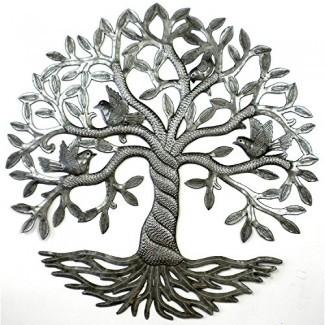"""Global Crafts 24 """"Arte de pared de metal haitiano hecho a mano reciclado Árbol de la vida con pájaros, tronco torcido"""