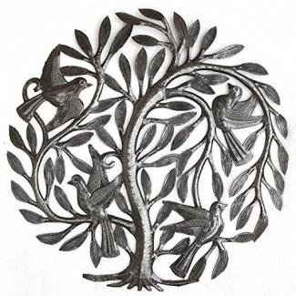 """Saliendo del árbol de la vida del jardín nido, arte artístico de metal haitiano, Tambor de acero, decoración para interiores y exteriores, 15 """"X 15"""""""