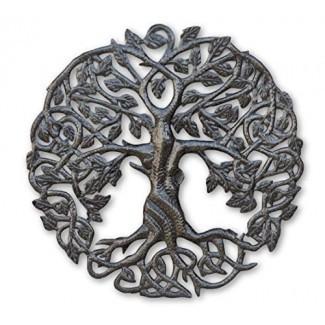 Pequeño arte de pared de metal de Tree of Life, 17.25 pulgadas de redondo, decoración contemporánea de acero, árboles genealógicos celtas, placa moderna, hecho a mano en Haití, certificado de comercio justo