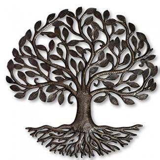 """Raíces metálicas del árbol de la vida, Árbol grande, Decoración rústica de granja, Inspirado en la naturaleza, Hecho a mano en Haití 23 """"X 23"""" Feria T Rade Certificado por la Federación"""