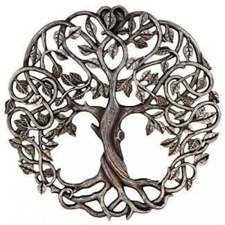 """Old River Outdoors Árbol de la vida Placa de pared 11 5/8 """"Escultura decorativa de arte del jardín celta - Acabado en plata antigua"""
