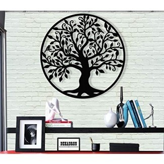 DEKADRON Metal Wall Art - Árbol de Life - Árbol genealógico - Silueta de pared 3D Decoración de pared de metal Decoración de oficina en el hogar Dormitorio Sala de estar Decoración Escultura