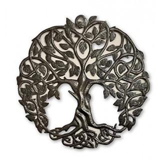 Arte de pared de metal Tree of Life, decoración contemporánea de hierro, árboles genealógicos celtas, placa moderna redonda de 23 x 23 pulgadas, hecho a mano en Haití, certificado de comercio justo, firmado por Wilson Etienne
