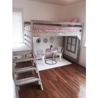 Twin / Twin XL rústica elegante loft cama con escaleras