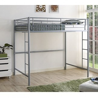 Nueva cama alta de metal plateado Loft